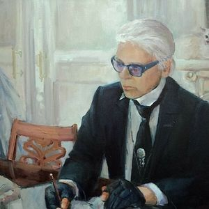 Original Portrait Painting- Karl Lagerfeld RIP